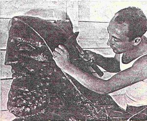 Repoussé and chasing - Sculptor Maurice Ascalon at work undertaking the finishing chasing of a copper repoussé relief sculpture circa 1939.