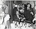 Mayor John F. Collins conversing with Massachusetts Senator Leverett A. Saltonstall (10425901386).jpg