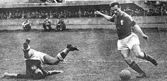 Valentino Mazzola - Turin, 11 May 1947, Italy–Hungary (3–2). Mazzola dribbles past an opponent and prepares to shoot