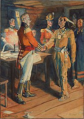 Painting of Tecumseh and Brock shaking hands