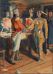 Dipinto di Tecumseh e Brock che si stringono la mano