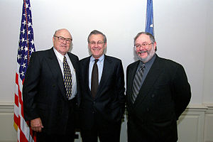 Melvin Laird - Laird (left) with one of his successors, Donald Rumsfeld, and biographer Dale Van Atta, 2001