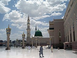 Muhammad's tomb is located under the Green Dome of Al-Masjid an-Nabawi.