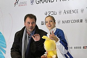 Carolina Kostner - Kostner with coach Michael Huth in 2010