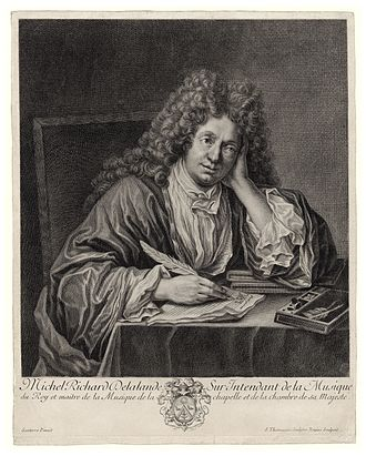 Music - French Baroque music composer Michel Richard Delalande (1657–1726), pen in hand.