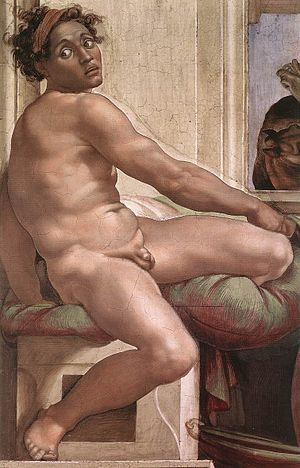 John the Baptist (Caravaggio) - Ignudo by Michelangelo, c. 1508-1512. Sistine Chapel, Rome.