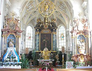 """Augsburg Western Woods Nature Park - one of the many baroque- and rococo-churches in the """"Swabian Pfaffenwinkel"""": church St. Wolfgang in Mickhausen"""