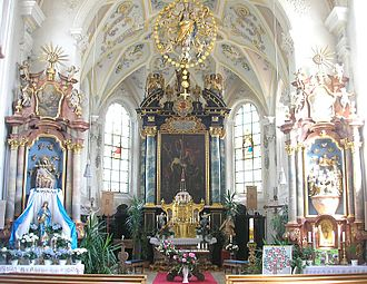 "Augsburg Western Woods Nature Park - one of the many baroque- and rococo-churches in the ""Swabian Pfaffenwinkel"": church St. Wolfgang in Mickhausen"
