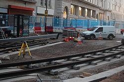 Midland Metro - track laying - Upper Bull Street - Birmingham 11.JPG