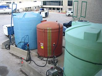 Fiberglass - Several large fiberglass tanks at an airport