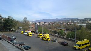 "Marshrutka - ""Route taxi"" minibuses in downtown Tbilisi in 2012"