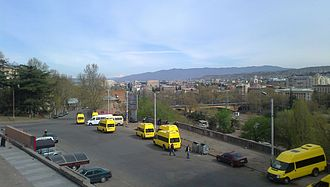 """Marshrutka - """"Route taxi"""" minibuses in downtown Tbilisi in 2012"""