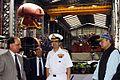 Minister of Defence Arun Jaitley reviews the construction of Scorpene class submarines at Mazagaon Dock Mumbai 2.jpg