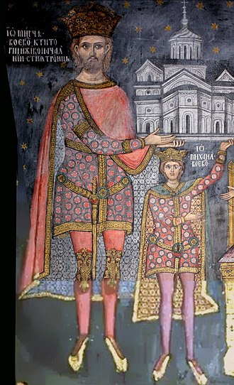 Maria Tolmay - Maria's husband, Mircea I of Wallachia, and their son, Michael I of Wallachia, depicted on an 18th-century icon in the Cozia Monastery