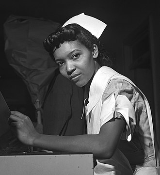 Nurse education - Image: Miss Lydia Monroe of Ringold, Louisiana, a student nurse fsa 8e 04913u crop