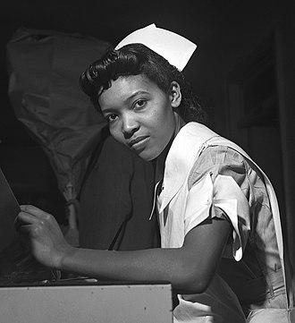 Nurse education - Image: Miss Lydia Monroe of Ringold, Louisiana, a student nurse fsa 8e 04913u crop
