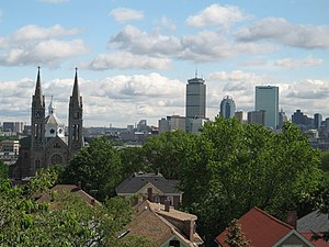 Mission Hill, Boston - View of Mission Church and Boston skyline from near top of Mission Hill