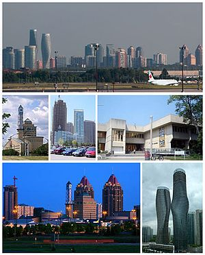 Mississauga - Clockwise from top: Skyline of Mississauga, University of Toronto Mississauga, Absolute World towers, Downtown Skyline, Mississauga Civic Centre, Condominium Skyline.