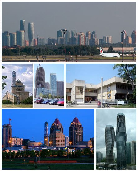 Clockwise from top: Skyline of Mississauga, University of Toronto Mississauga, Absolute World towers, Downtown Skyline, Mississauga Civic Centre, Condominium Skyline.