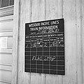 Missouri Pacific, Close-up of Railroad Station Bulletin Board at Dilley, Texas (20893553262).jpg