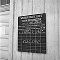 Missouri Pacific, Close-up of Railroad Station Bulletin Board at Dilley, Texas (20893553262).jpg