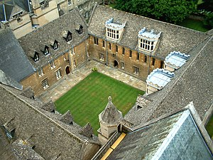 University of Oxford - Aerial view of Merton College's Mob Quad, the oldest quadrangle of the university, constructed in the years from 1288 to 1378