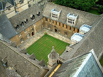 Quadrangle (architecture) - An aerial view of Mob Quad, Merton College, Oxford