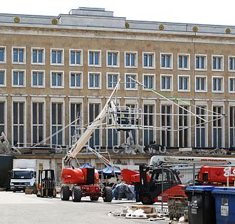 The Hunger Games: Mockingjay – Part 2 - Filming scenes for District 2 at Berlin Tempelhof Airport in May 2014.