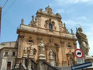 Modica - Façade of the Baroque church of San Pietro.