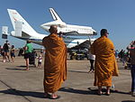 Monks With Space Shuttle Endeavour.JPG
