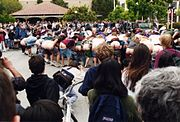 """Students at Stanford University conduct a """"mass-mooning"""" in May 1995."""