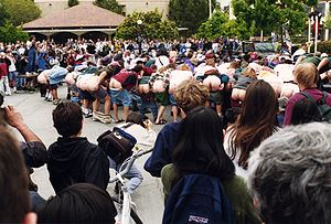 Exhibitionism - Students mooning at Stanford University, intended as both an unspecified protest and also a world record attempt of the greatest number of people simultaneously mooning others