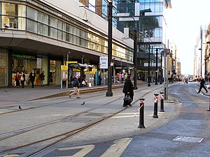 Mosley Street tram stop - The station in use in 2010.