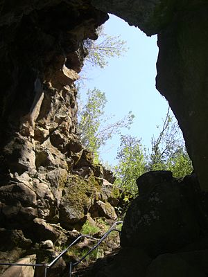Lava River Cave - Cave mouth seen from the Collapsed Corridor