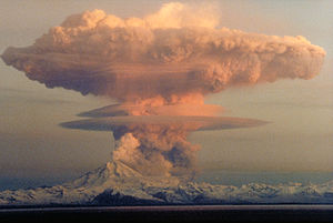 Mushroom cloud - Ascending cloud from Redoubt Volcano from an eruption on April 21, 1990. The mushroom-shaped plume rose from avalanches of hot debris (pyroclastic flows) that cascaded down the north flank of the volcano.