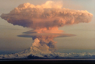 Mount Redoubt - April 21, 1990 eruption cloud (to a height of about 9 km) from Redoubt Volcano as viewed to the west from the Kenai Peninsula