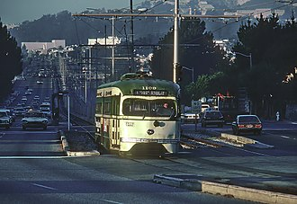 San Francisco State University station - A southbound streetcar leaves the station in 1980