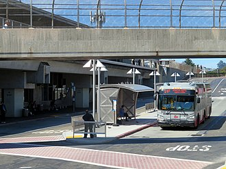 Daly City station - Muni route 14R bus in the east busway