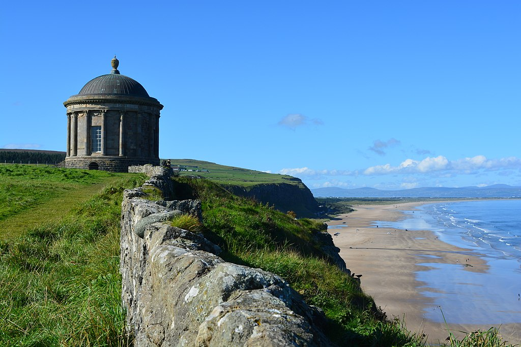 Mussenden Temple overlooking Downhill beach. Northern Ireland