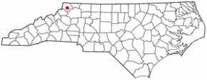 Poziția localității West Jefferson, Carolina de Nord