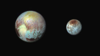 Tombaugh Regio - Image: NH 071315 Pluto Charon False Color Composite 20150713