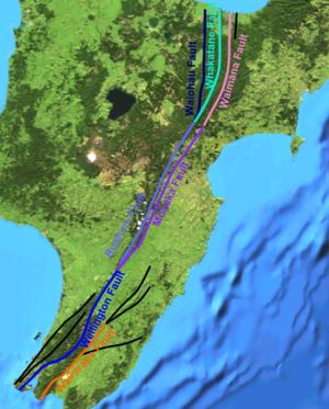 North Island Fault System - Main active strands of the North Island Fault System
