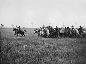 2nd Cavalry Division (United Kingdom) - 2nd Dragoons (Royal Scots Greys) training in France during the First World War.