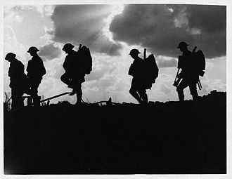 Battle of Broodseinde - Image: NLS Haig Troops moving up at eventide men of a Yorkshire regiment on the march