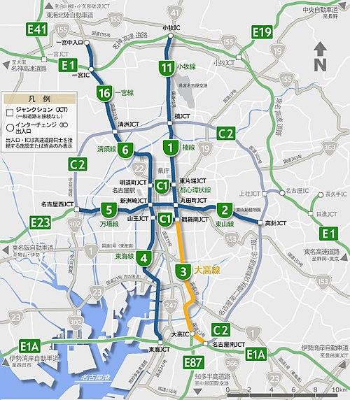 高速 図 名古屋 路線