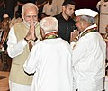 Narendra Modi interacting with the Freedom Fighters, during the 'At Home' function, hosted by the President, Shri Ram Nath Kovind, on the occasion of 76th Anniversary of the Quit India Movement, at Rashtrapati Bhavan.JPG