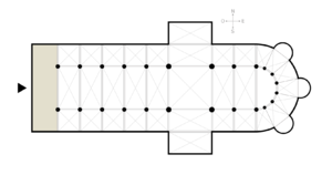 Narthex - Plan of a Western cathedral, with the narthex in the shaded area at the western end.