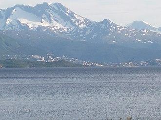 Herjangsfjord - View of the Herjangsfjord and Narvik, viewed from Bjerkvik
