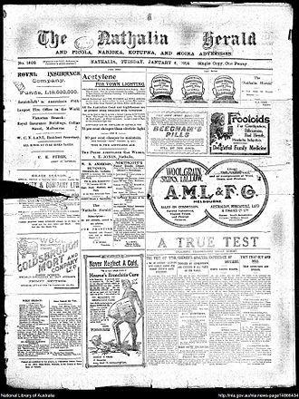 Nathalia Herald - Front page of Nathalia Herald Tuesday January 6, 1914