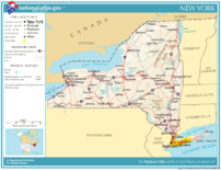 The major cities and roadways of New York State.